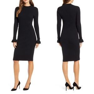 NEW Nordstrom Ribbed Sweater Midi Dres Ruffle Cuff